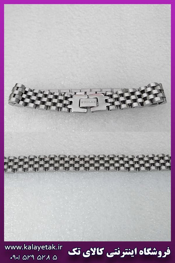 دستبند رولکس لوگو دار نقره ای استیل