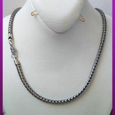 زنجیر ماری پیچی نقره ای استیل