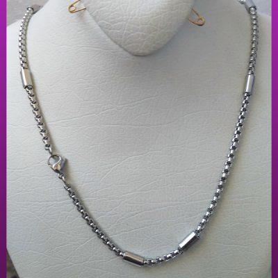 زنجیر لوله ای برجسته نقره ای استیل