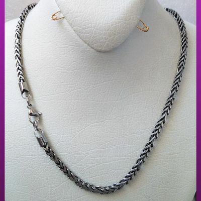 زنجیر فیگارو مکعبی مات سیاه قلم نقره ای استیل
