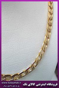 زنجیر کارتیه پیوسته طرح دار طلایی استیل