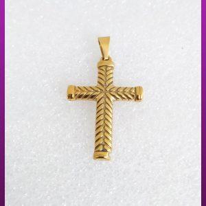 پلاک صلیب راه راه طلایی استیل