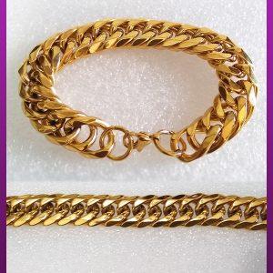 دستبند کارتیه تخت طلایی استیل
