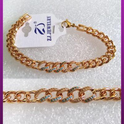 دستبند زنانه کارتیه نگین دار طلایی
