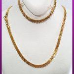 ست زنجیر و دستبند پهن طلایی استیل
