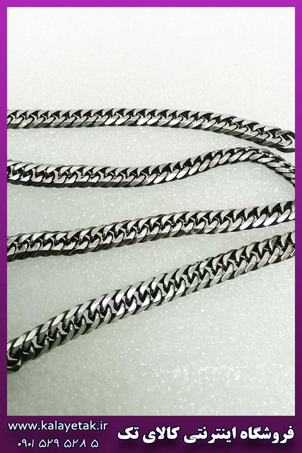 زنجیر کارتیه تخت سیاه قلم نقره ای استیل