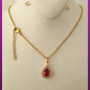 گردنبند زنانه نگین قرمز طلایی برند YES