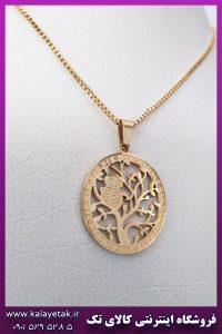گردنبند جغد و درخت طلایی استیل