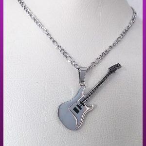 گردنبند گیتار نقره ای استیل