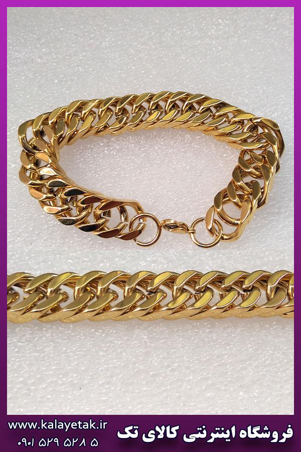 دستبند کارتیه مکعبی طلایی استیل