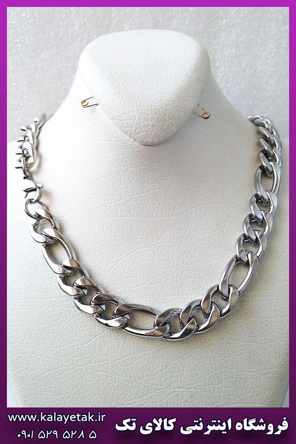 زنجیر فیگارو نقره ای استیل