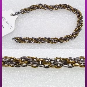 دستبند پیچی دورنگ استیل