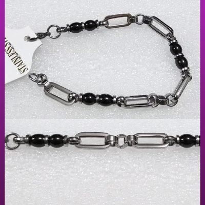 دستبند مهره مشکی نقره ای استیل