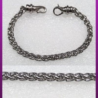 دستبند ماری پیچی با قفل خاص نقره ای استیل