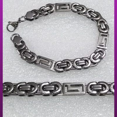 دستبند تخت قفلی نقره ای استیل
