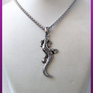 گردنبند مارمولک سیاه قلم نقره ای استیل