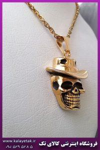 گردنبند جمجمه اسکلت کلاه دار طلایی استیل