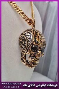 گردنبند جمجمه اسکلت سیاه قلم طلایی استیل