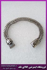 دستبند دوبل مکعبی نقره ای با قفل آهنربایی استیل