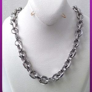 زنجیر دیپلمات حلقه ای نقره ای استیل