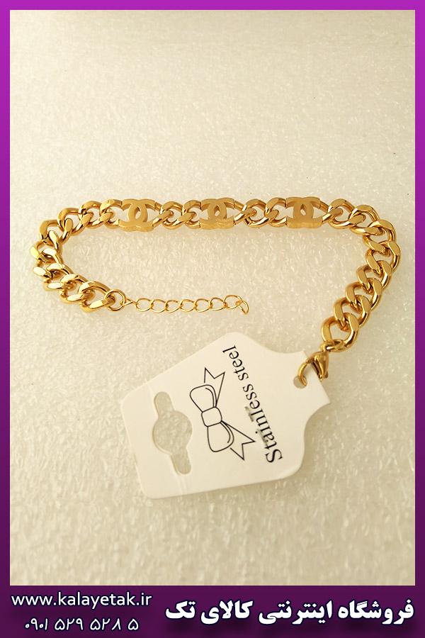 دستبند شانل طلایی استیل