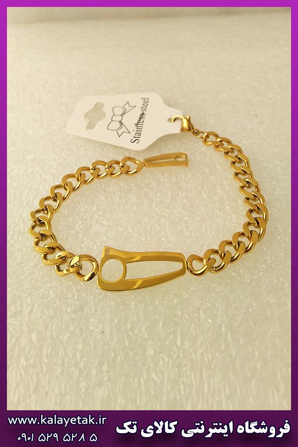 دستبند نیمانی طلایی استیل