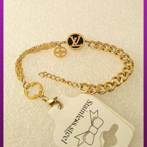 دستبند LV طلایی استیل