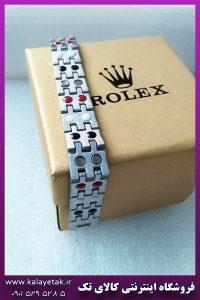 دستبند مغناطیسی رولکس لوگو دار دورنگ استیل