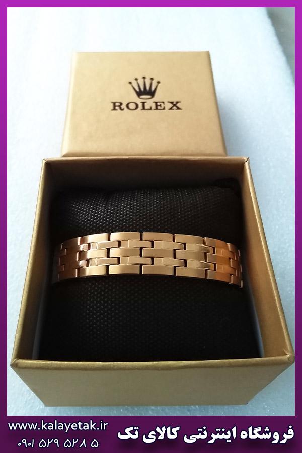 دستبند مغناطیسی رولکس لوگو دار طلایی استیل