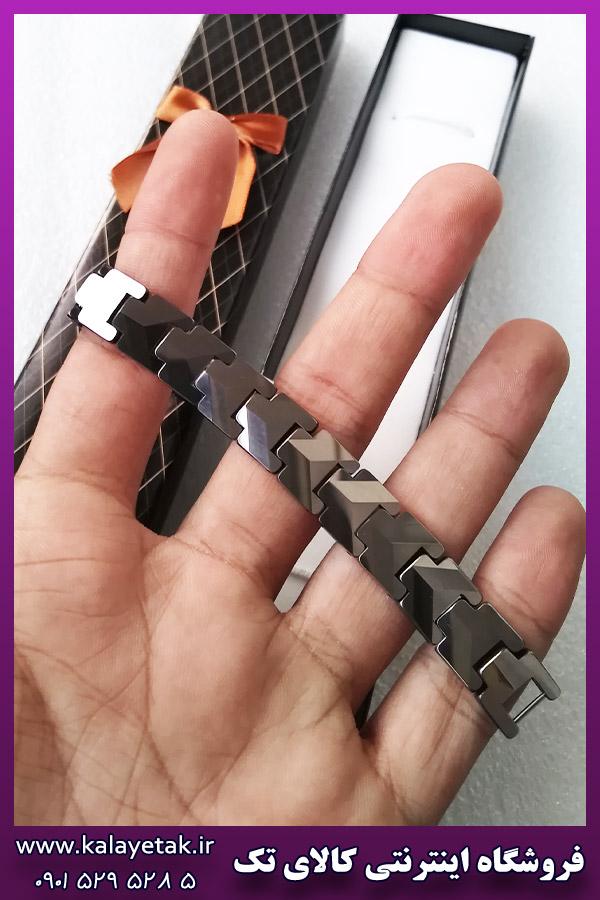 دستبند مغناطیسی تنگستن لوگو دار نقره ای