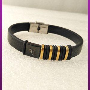 دستبند چرمی کارتیه طلایی