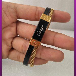 دستبند زنجیر و چرم کارتیه طلایی