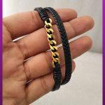 دستبند چرمی با زنجیر کارتیه طلایی