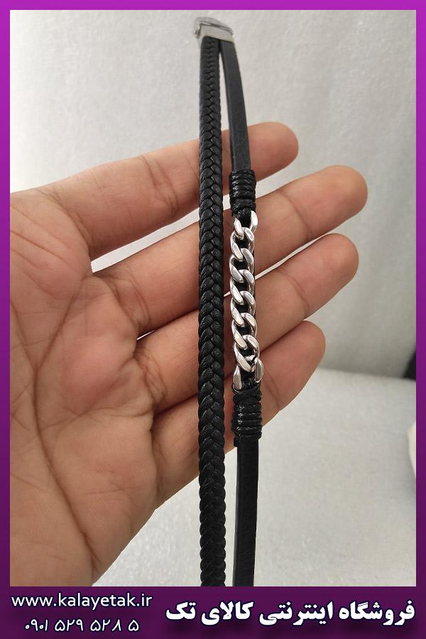 دستبند چرمی با زنجیر کارتیه نقره ای