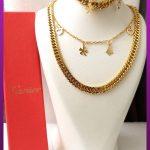 ست زنجیر و دستبند کارتیه زنانه دولاین طلایی استیل
