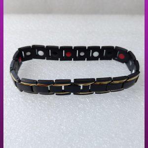 دستبند مغناطیسی مشکی طلایی استیل