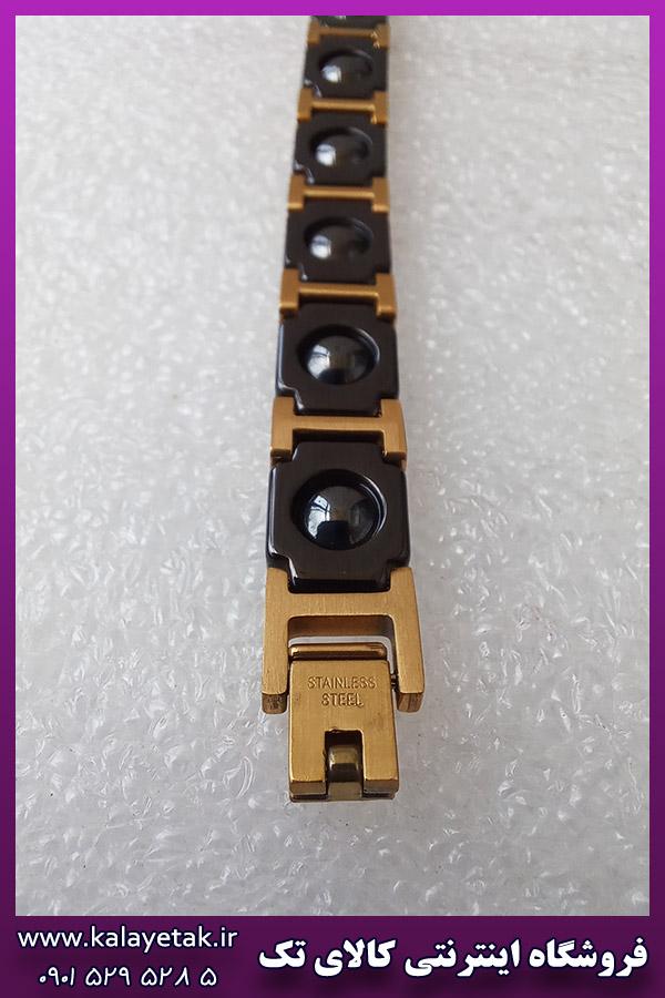 دستبند مغناطیسی تنگستن مشکی طلایی