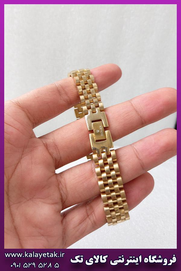 دستبند رولکس لوگو دار طلایی استیل