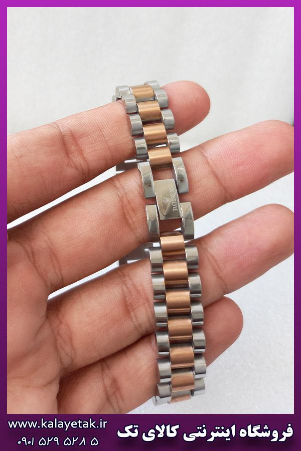 دستبند رولکس لوگودار دورنگ رزگلد نقره ای استیل