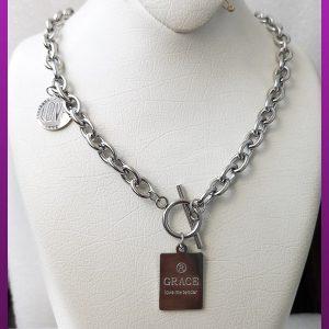گردنبند کره ای Grace نقره ای استیل