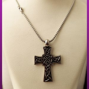 گردنبند صلیب سیاه قلم نقره ای استیل