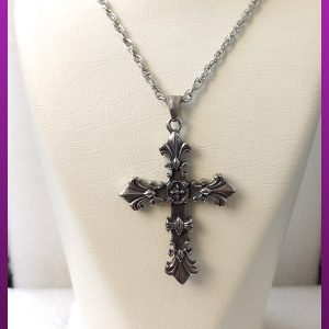 گردنبند صلیب دورو سیاه قلم نقره ای استیل