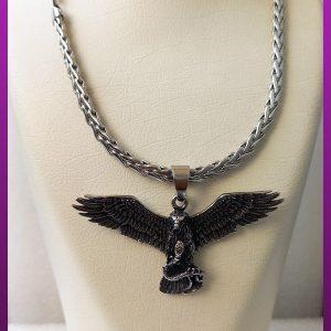 گردنبند عقاب و مار سیاه قلم نقره ای استیل