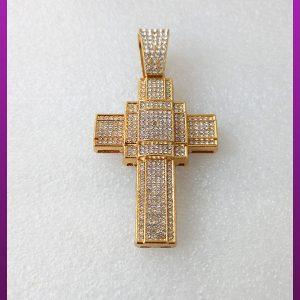 پلاک صلیب فول نگین طلایی