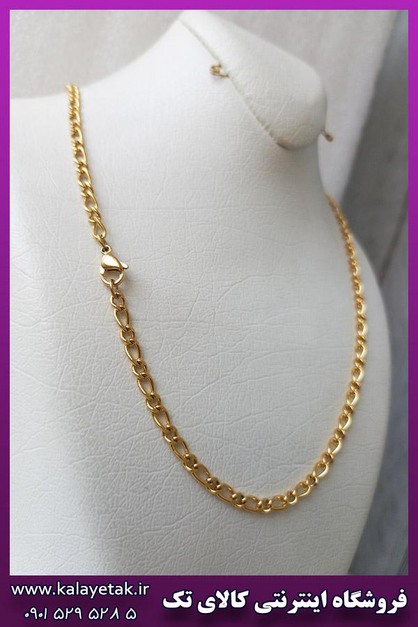 زنجیر فیگارو ظریف طلایی استیل