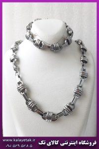ست زنجیر و دستبند سیم خاردار نقره ای استیل