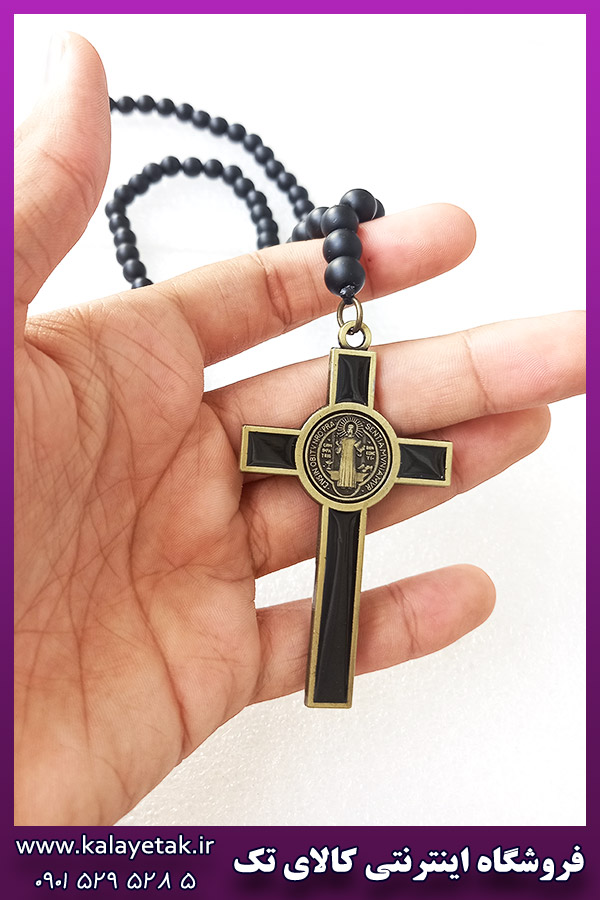گردنبند مهره سنگی صلیب دورو
