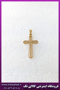 پلاک صلیب ساده نگین دار طلایی استیل