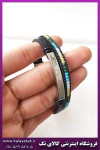 دستبند چرمی دولاین رنگی نقره ای