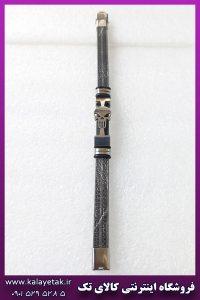 دستبند چرمی اسکلت پانیشر نقره ای